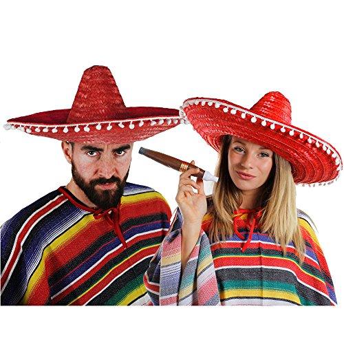 MEXIKANER PAAR KOSTÜM VERKLEIDUNG = 2 PONCHOS + 2 ROTE SOMBREROS MIT KLEINEN WEIßEN POMPOMS +2 DICKE PLASTIK ZIGARREN+ 2 MEXIKANISCHE SELBSTKLEBENDE SCHNURRBÄRTE=FASCHING KARNEVAL HALLOWEEN