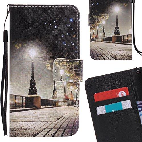 Yiizy Samsung Galaxy Core Prime G360 Custodia Cover, Park Street Notte Design Sottile Flip Portafoglio PU Pelle Cuoio Copertura Shell Case Slot Schede Cavalletto Stile Libro Bumper Protettivo Borsa