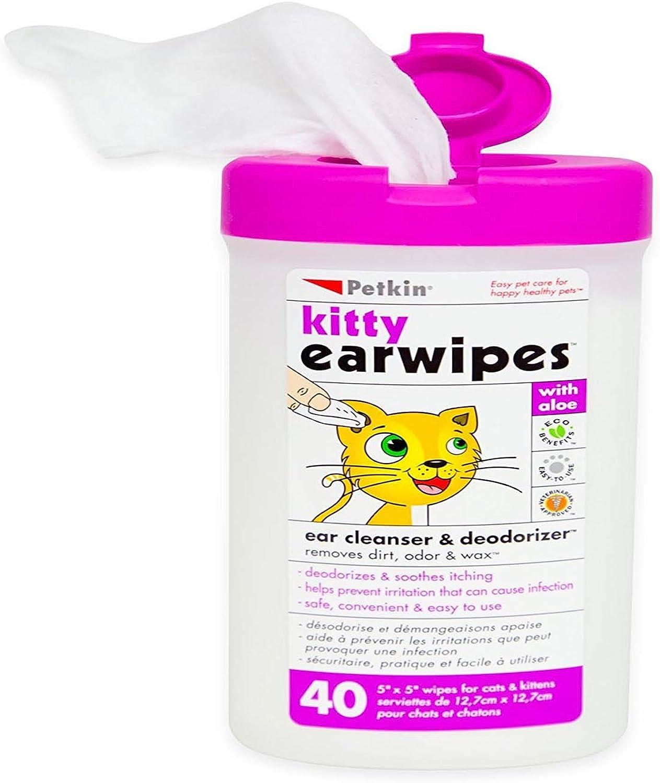 Petkin Kitty Earwipes 40 Count