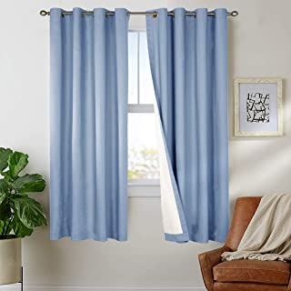 Blackout Curtain 63 inch Blue for Bedroom Thermal Insulated Living Room Window Treatment Curtain Panels Sold Individually