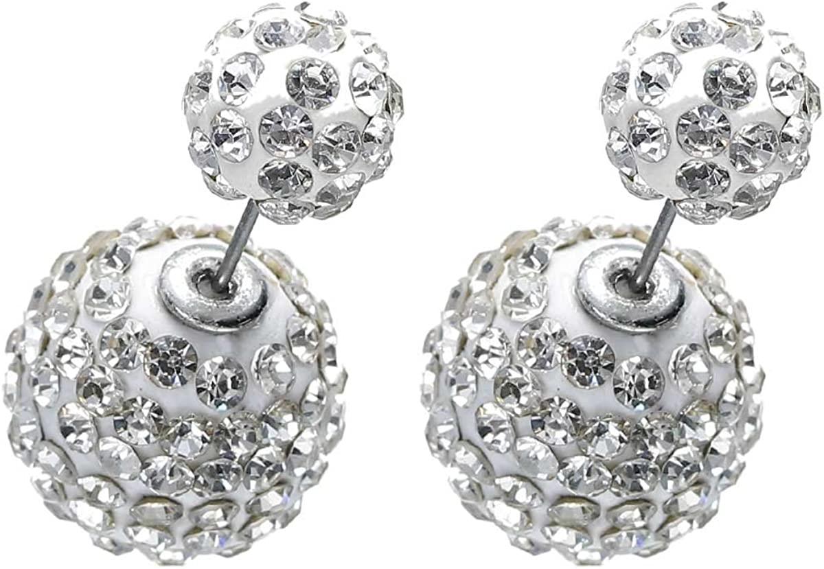 Sexy Sparkles Clay Earrings Double Sided Ear Studs Round Pave Rhinestone with Stoppers
