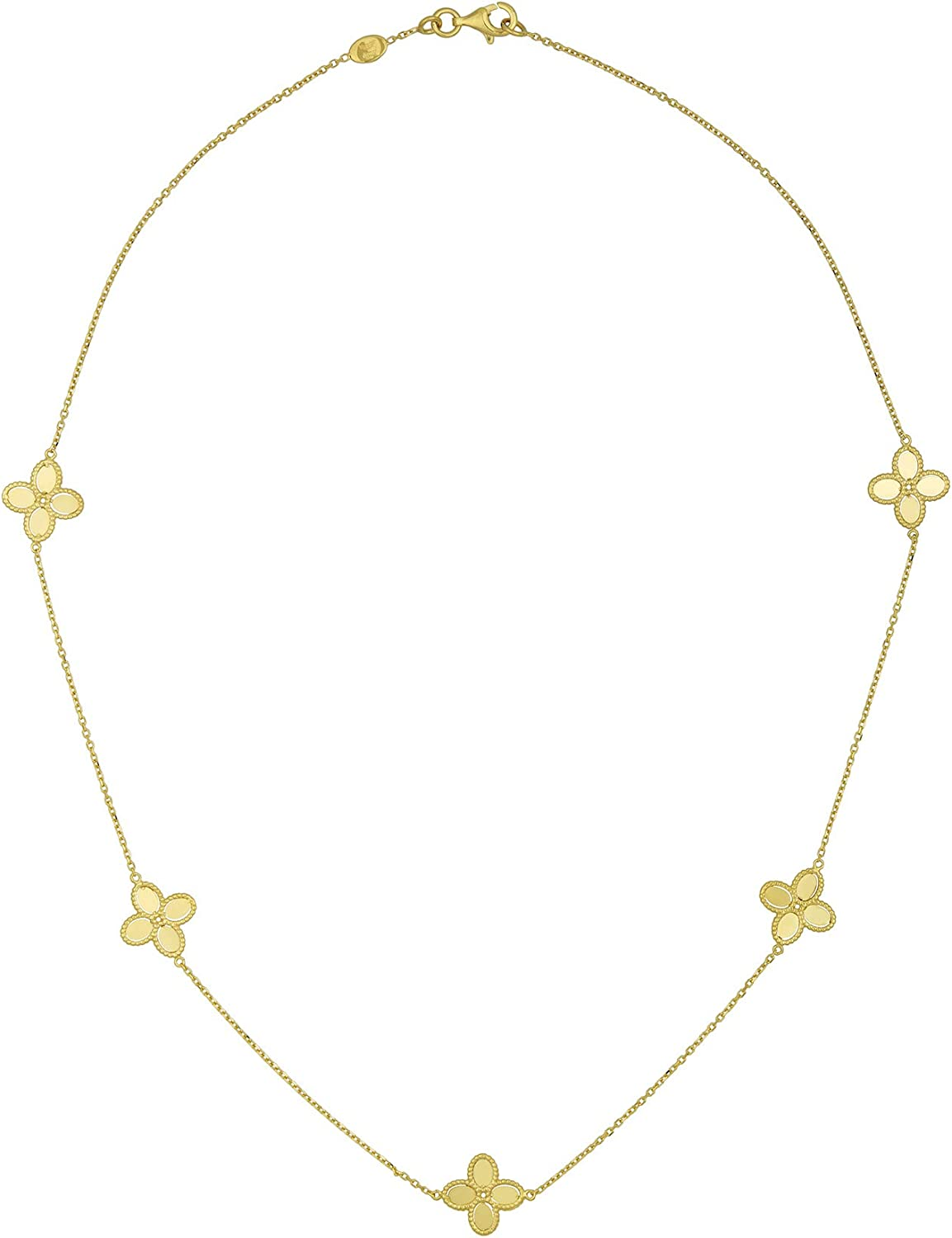 14k Italian Yellow Gold Four Leaf Clover Necklace Factory At the price of surprise outlet Flower Station