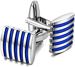 d551657a1 Peora Unique Black Stripes Shirt Cufflinks for Men Business Corporate Gift