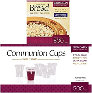 B&H Publishing Group Cup and Wafer Set Includes Disposable Plastic Cups Bread White (500 Count)