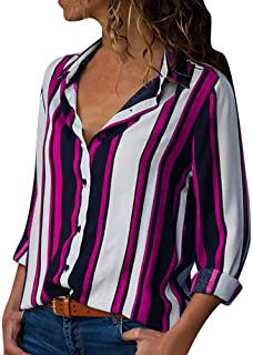 Women Casual Long Sleeve Turn-Down Collar Button Up Striped Shirt Blouse Tops