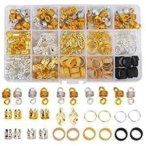Nafaboig 200PCS Beads for Hair Braids, Hair Jewelry for Women Braids, Metal Gold Braids Rings Cuffs Clips for Dreadlock Accessories Hair Decorations