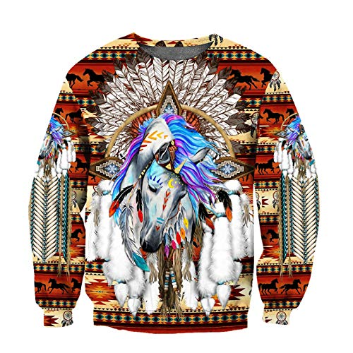 Horse Native Indian 3D Print Hoodie Hombres Mujeres Harajuku Zipper Pullover Sudadera Unisex Chaqueta Chándal...
