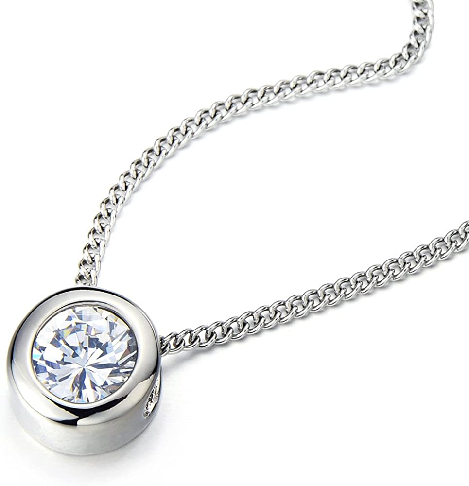 COOLSTEELANDBEYOND 6.5mm Cubic Zirconia Round Solitaire Bezel Set Stainless Steel Pendant Necklace 20 Inches Chain