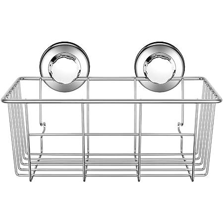 Stainless Steel Kitchen Bathroom Shower Shelf Storage Suction Cup Basket