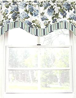 """Waverly Home Arlington Heights Floral Scallop Valance Hydrngea 52"""" Wide x 16"""" Blue, Green on Off White"""