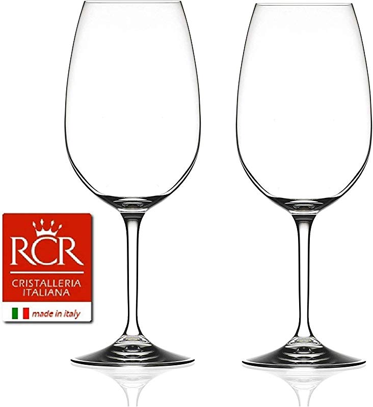 RCR Cristalleria Italiana Invino Collection 2 Piece Crystal Wine Glass Gran Cuvee 22 Oz