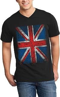 Union Jack Vintage British Flag Men's V-Neck T-Shirt United Kingdom Flag Shirts