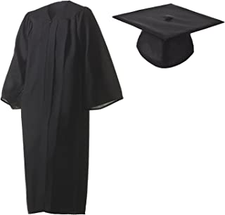 Graduation Cap and Gown Set Matte Black in Multiple Sizes