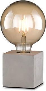 loxomo - lampe de table cube de béton, 9 x 9 x 9 cm, lampe de table de béton avec douille E27, jusqu'à max.60W, lampe déco...