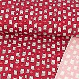 French Terry Stoff kleine Eulen rot Kinderstoffe Modestoffe