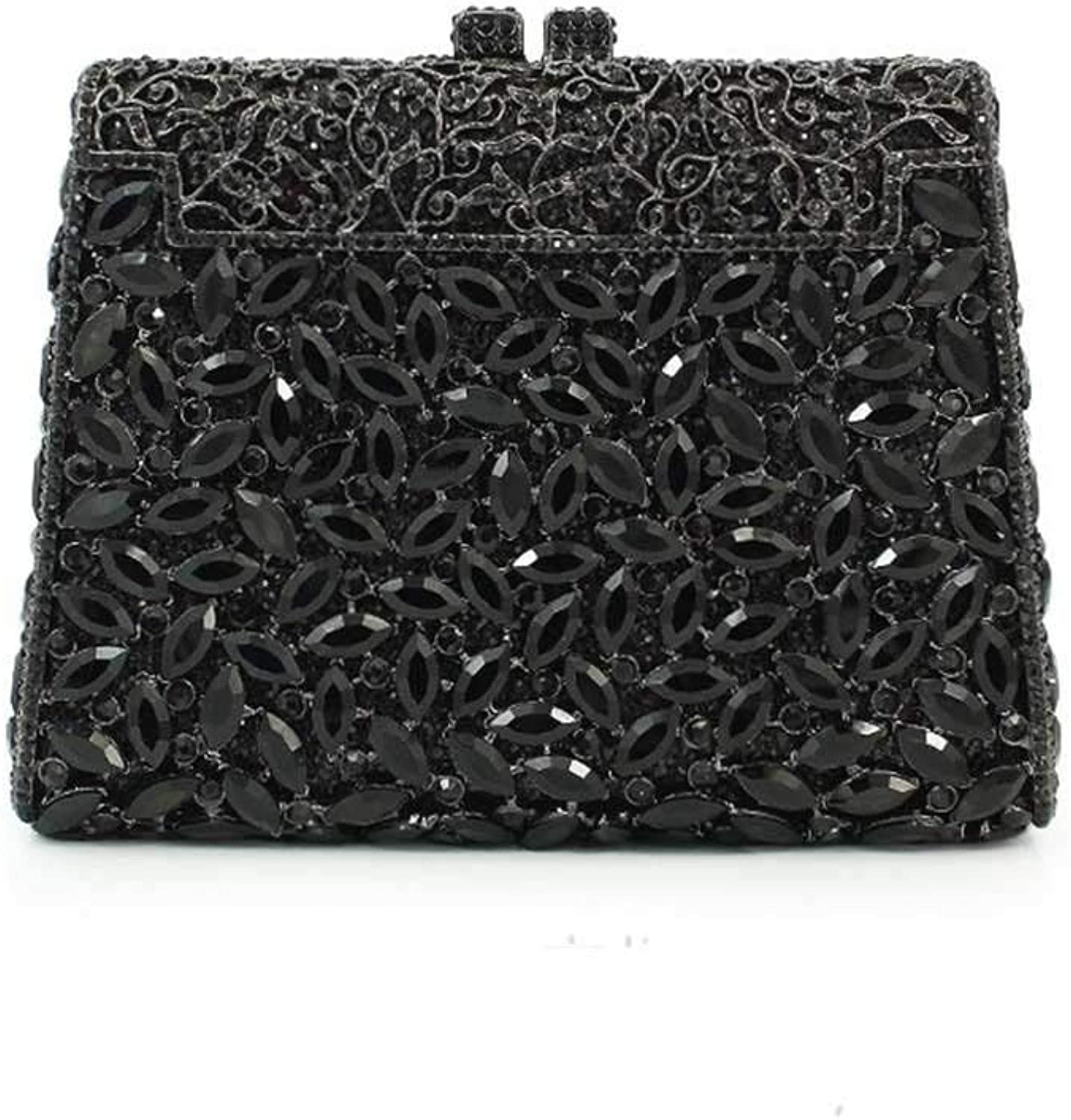 Sturdy Fashian Black Crystal Box Clutch Box Dinner Package with Rhinestone Clothing Gifts Large Capacity (color   Black)