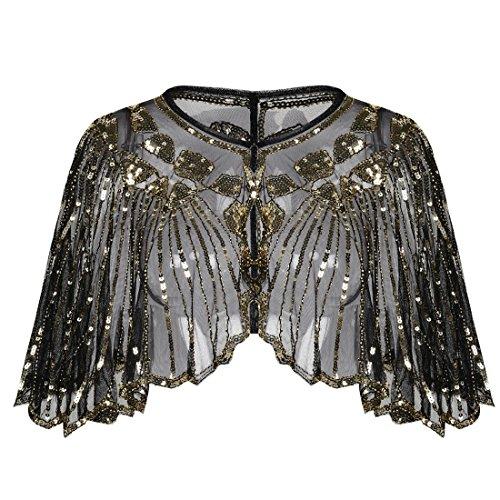 PrettyGuide Women's 1920s Shawl Beaded Sequin Deco Cape Bolero Flapper Cover Up Gold