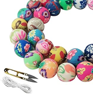 WXBOOM 100pcs Assorted Handmade Colorful Pattern Beads Fimo Polymer Clay Round Spacer Bulk Beads with 1 Pair of Scissors and 1 White Cord (10mm) for Jewelry Making