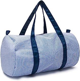 حقيبة أطفال من القماش الخشن من Seersucker خفيفة الوزن واسعة طوال الليل والسفر وعطلة نهاية الأسبوع (أزرق بحري)
