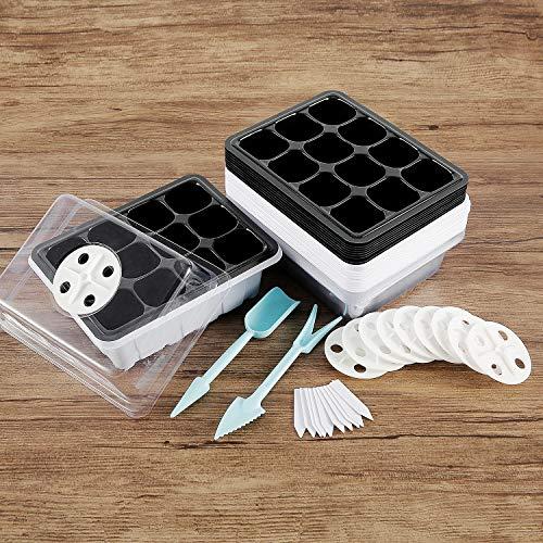 Keyohome - Lote de 10 miniinvernadero para semillas, mini bandejas de semillas con tapa y agujeros de aire, plástico para germinación de semillas y crecimiento en invernadero (blanco)