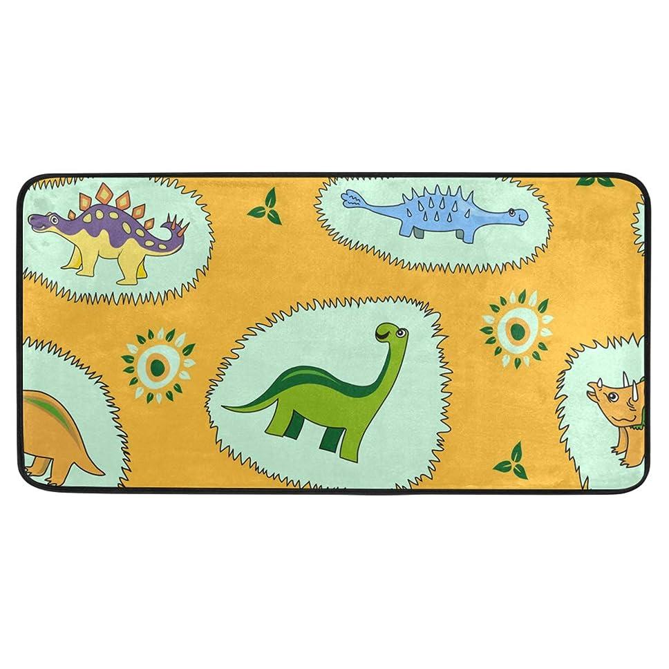 ダルセットクランプ数値UKIO キッチンマット 原生 恐竜柄 台所マット 玄関マット ドアマット おしゃれ 洗える 滑り止め 99×51