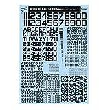 サンコーマーク工業 レプトジーダ プラモデル用 水転写 M01 60度 Numbers&Letters 黒 13.5×19.5cm WING DECAL SERIES WM-04