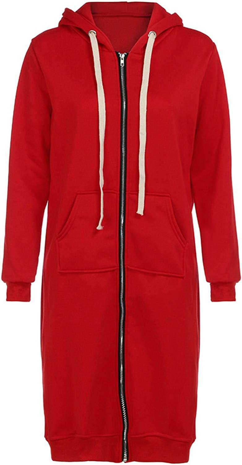 Smileyth Many popular brands Women In a popularity Zip Up Long Hoodie Color Coat Solid S Casual