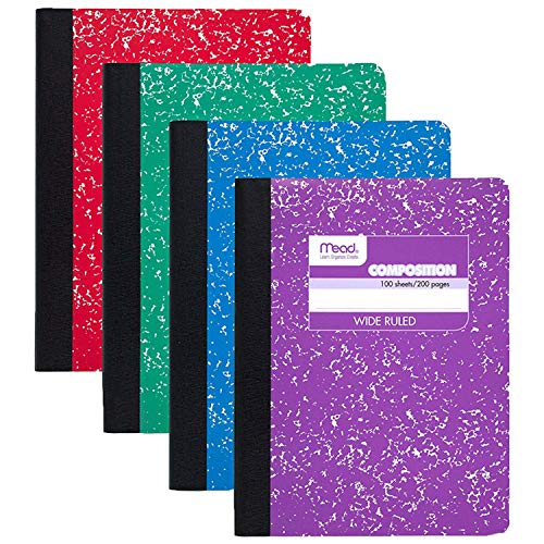 Mead Composition Book, Wide Ruled Comp Book, Writing Journal Notebook with Lined Paper, Home School Supplies for College Students & K-12, 9-3/4' x 7-1/2', Fashion, Assorted Colors, 12 Pack (73389)