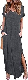 Women's Summer Maxi Dress Casual Loose Pockets Long Dress Short Sleeve Split