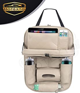 MOTEXTO Universal PU Leather Car Seat Back Organizer with Foldable Dining Table Tray, Multipocket Storage Tablet, Bottle a...