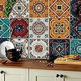 HPNIUB 24 Stück Mosaik Küche Wandaufkleber,Bunt Wandfliese Aufkleber,DIY Marokkanischer Fliesenaufkleber für Badezimmer,Selbstklebende Treppenaufkleber Fliesenfolie,Wasserdicht Wandaufkleber,15×15CM