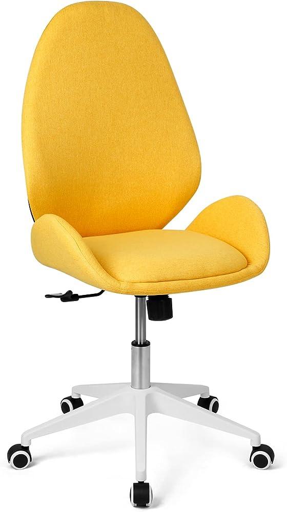Besit, sedia da scrivania, ergonomica, girevole, seduta in tessuto, IMBOTTITA, GIALLA