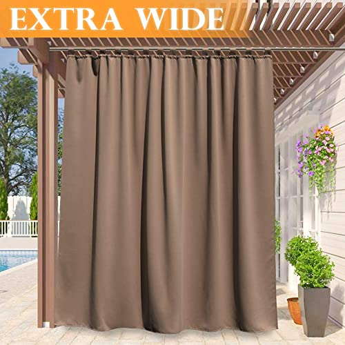 RYB HOME Outdoor Curtains 120 inches Long, Privacy Panels for Patio Lawn & Garden, Inside Outside Thermal Insulated U...