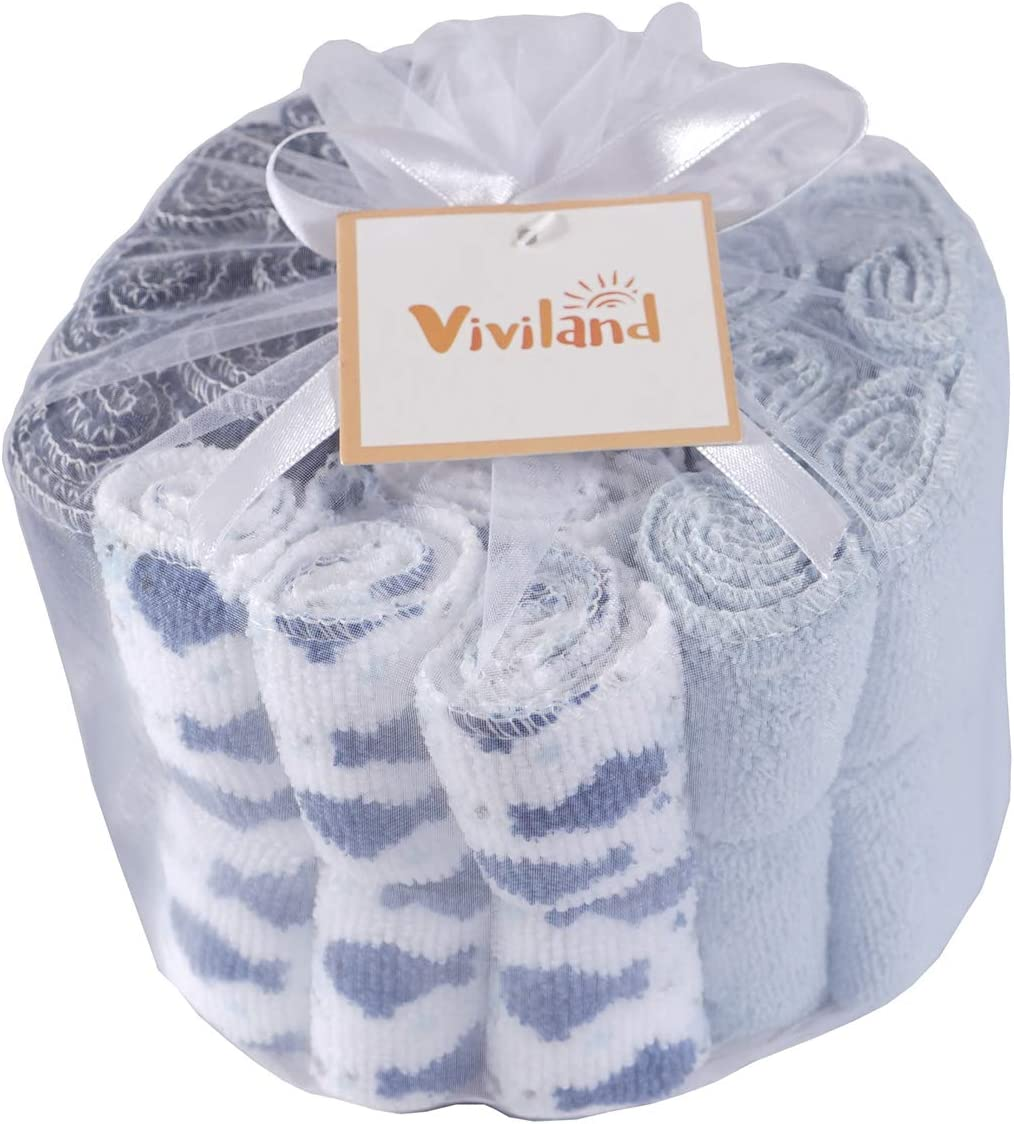 24 Pack Baby Washcloths Gentle on Sensitive Skin Super Soft Absorbent Baby Bath Wash Cloths for Face /& Body