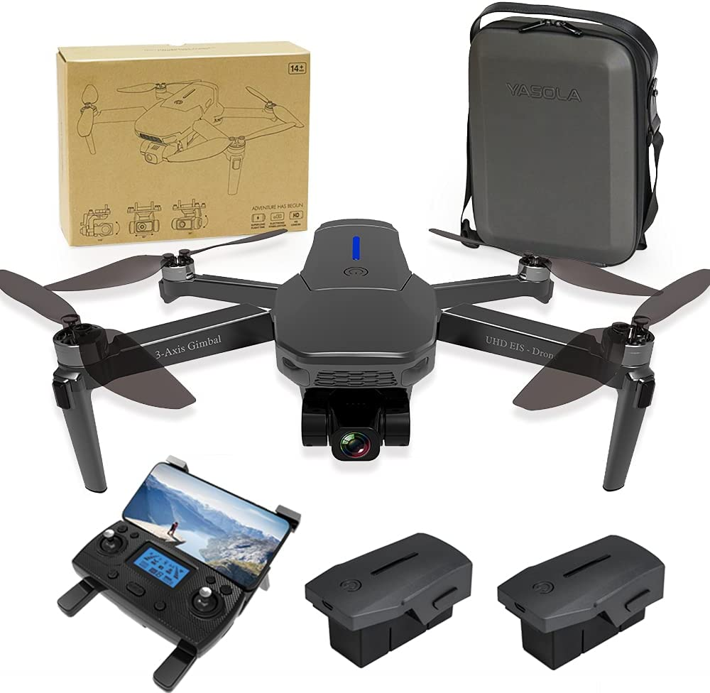 YASOLA GPS Drones with Camera for Adults 4K,3-Axis Gimbal Camera,EIS Anti-Shake,5G WIFI FPV,Auto Return Home, Brushless Motor(2 Battery + Carrying Case)