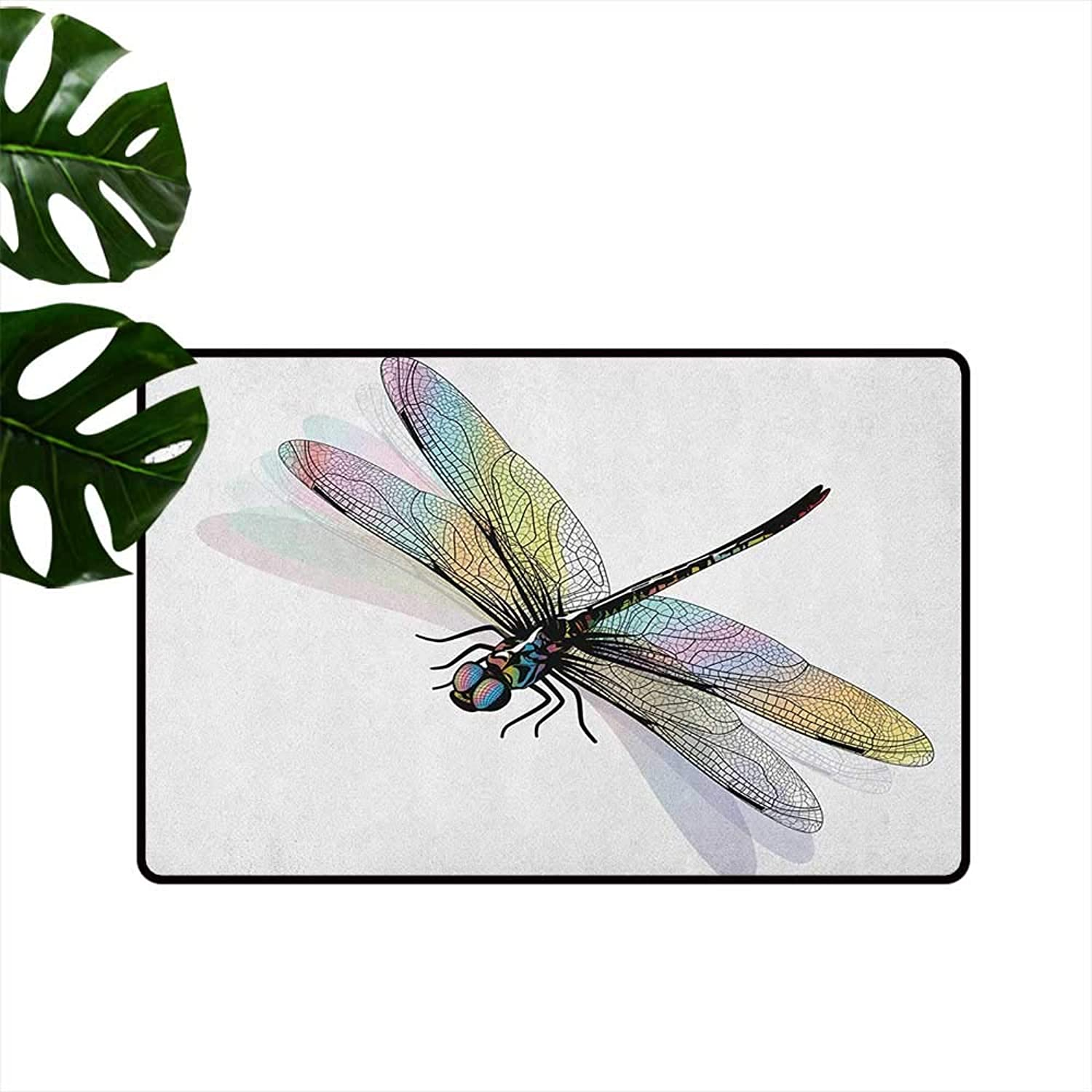 Dragonfly Waterproof Door mat Shady Dragonfly Pattern with Ornate Lace Style Spiritual Beauty Wings Design Personality W35 x L59 Multicolor