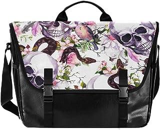 Bolso de lona para hombre y mujer, diseño de calavera, de acuarela, estilo retro, ideal para iPad, Kindle, Samsung