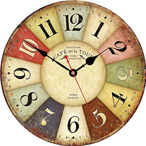 VIKMARI los números en Silencio para no Hacer tictac del Reloj de Pared rústica Romana Redonda de Madera Decorativo de la Pared Relojes 8 Inch Paris Francia