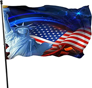 Statue-Liberty American Flag Yard Garden Flag 3x5 Foot Banner with Brass Grommets Indoor Outdoor Home Boat Decor