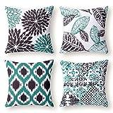 Phantoscope New Living Series Decorative Throw Pillow Case Cushion Cover Black 18' x 18' Set of 4