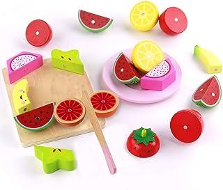 Large Warooma Magnetica per Bambini in Legno Taglio Frutta Verdura Cibo Giocattolo Set Pretend Role Play Cucina Giocattolo con Cestino per Bambini per Bambini Fruit Legno