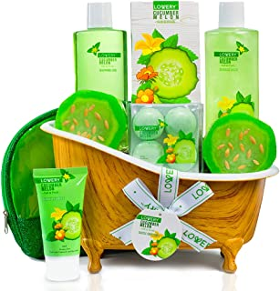Christmas Gifts - Home Spa Bath Basket Gift Set - Aromatherapy Kit for Men & Women - Natural Cucumber with Organic Melon - 12 Piece Skin Care Set Includes 2 Organic Melon Soaps, Lotion & More