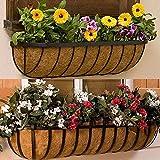 2 cestas de pared de coco, macetas para exteriores, cestas colgantes de fibra de coco, forros de jardín, porche, balcón, decoración para jardinería (36 pulgadas)