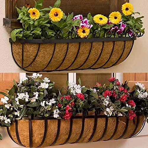 2 cestas de pared de coco, macetas para exteriores, cestas colgantes de fibra de coco, forros de jardín, porche, balcón, decoración para jardinería (24 pulgadas)