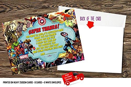 Jongens Verjaardag Party Uitnodigingen/Dank u kaart Super held, Marvel held, Super Marvel X 8 Kaarten