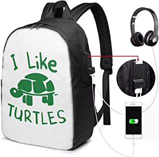 I Like Turtles College Laptop Backpack Bag with USB Charging Port Computer Business Backpacks for Women Men School Student Casual Hiking Travel Daypack