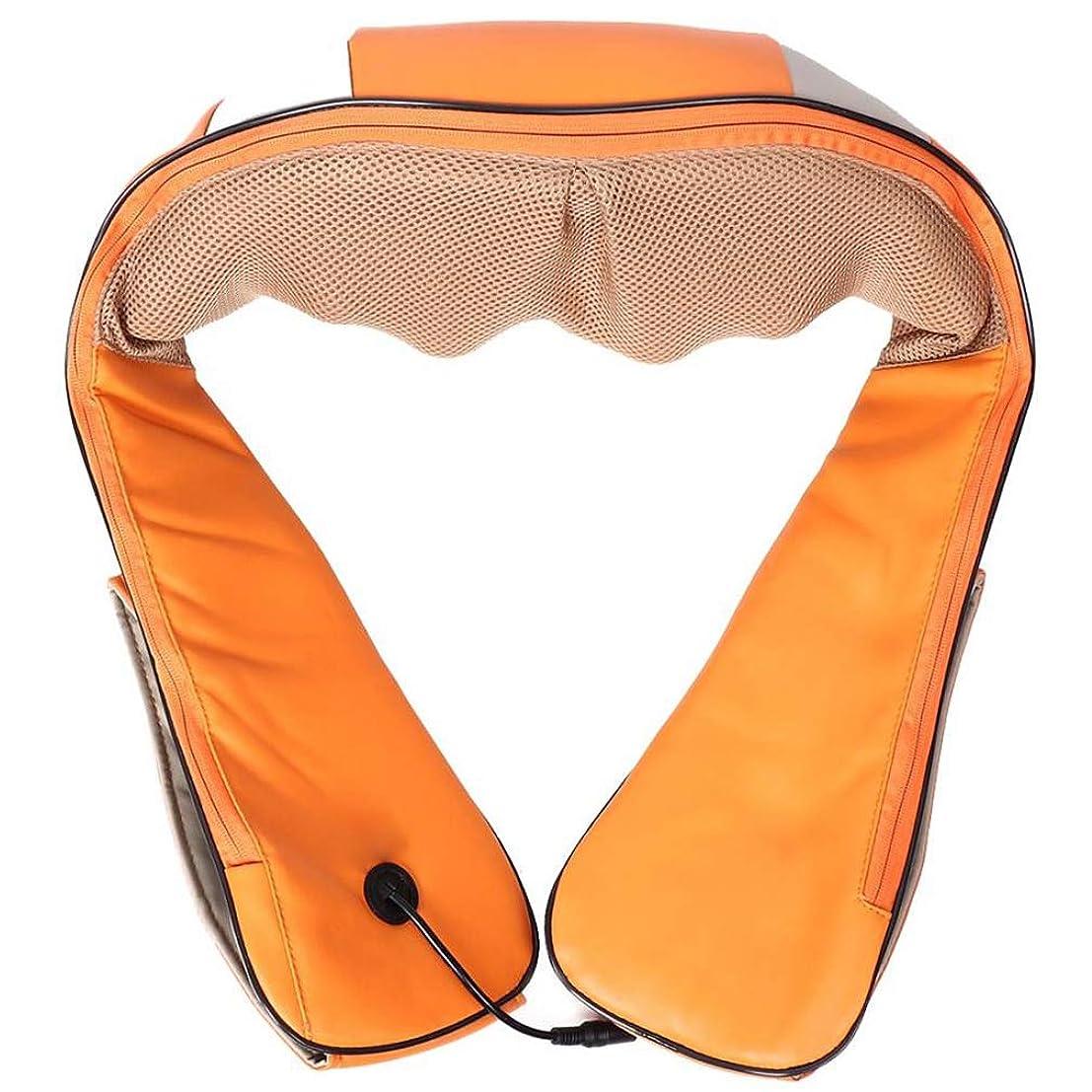 撤回する無人口実指圧バックネックマッサージャー 、肩裏全身マッサージリラクゼーションヘルスケア機器ディープマッスルリリーフ調節可能な強度のオフィスホームカー, Orange