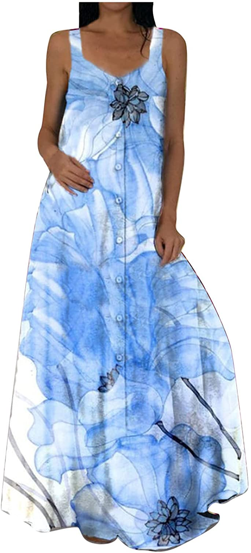 Assletes Women's Summer Fashion Casual O-Neck Regular Sleeveless Print Sashes Floor-Length Dress
