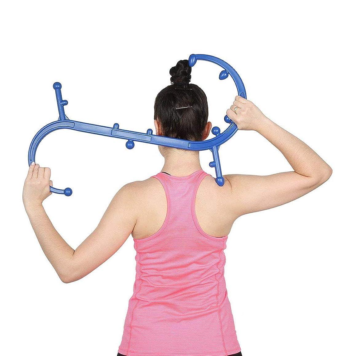 ハイランド標準やりすぎQuner 指圧代用器 ボディバックバディ ツボ押しグッズ ネックマッサージャー 肩こり解消 Trigger Point Therapy Self Massage (ブルー)