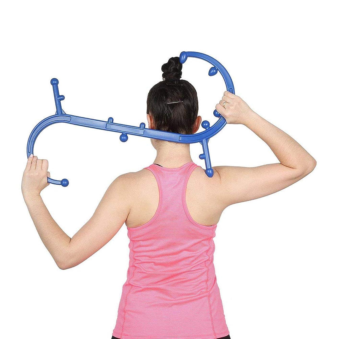 厚くするブレーク選挙Quner 指圧代用器 ボディバックバディ ツボ押しグッズ ネックマッサージャー 肩こり解消 Trigger Point Therapy Self Massage (ブルー)